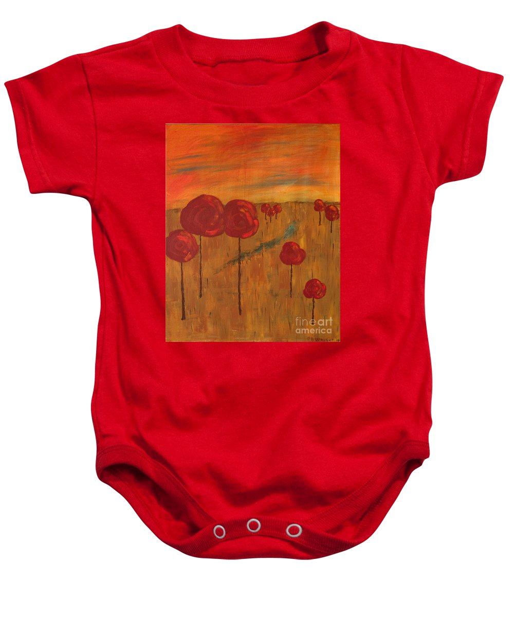 Wright Baby Onesie featuring the painting Appletrees by Paulette B Wright