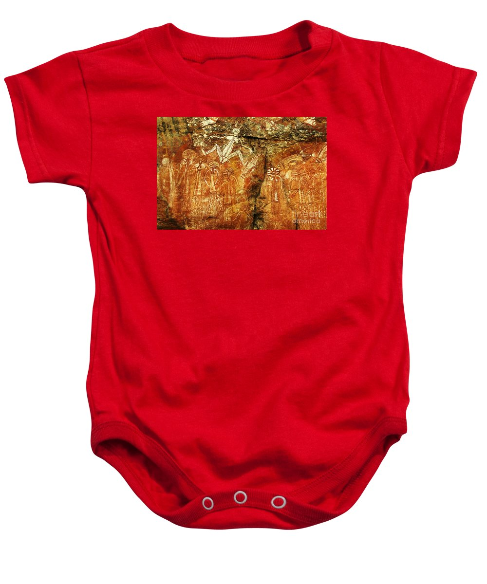Indigenous Art Baby Onesie featuring the photograph Australia Ancient Aboriginal Art 2 by Bob Christopher