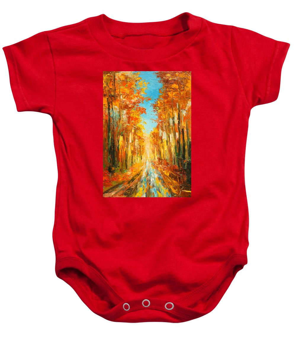 Autumn Baby Onesie featuring the painting Autumn Forest Impression by Luke Karcz