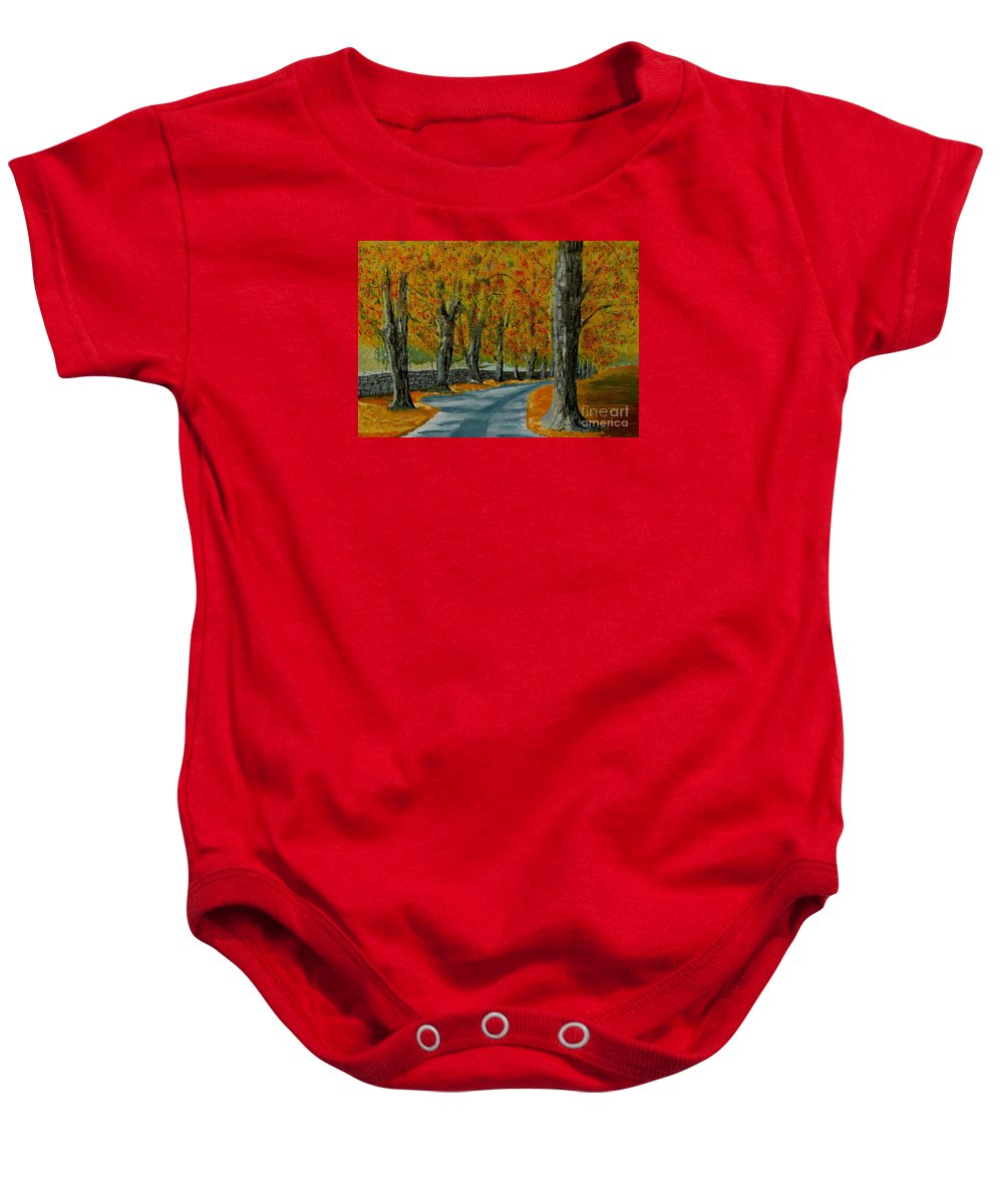Autumn Baby Onesie featuring the painting Autumn Pathway by Anthony Dunphy