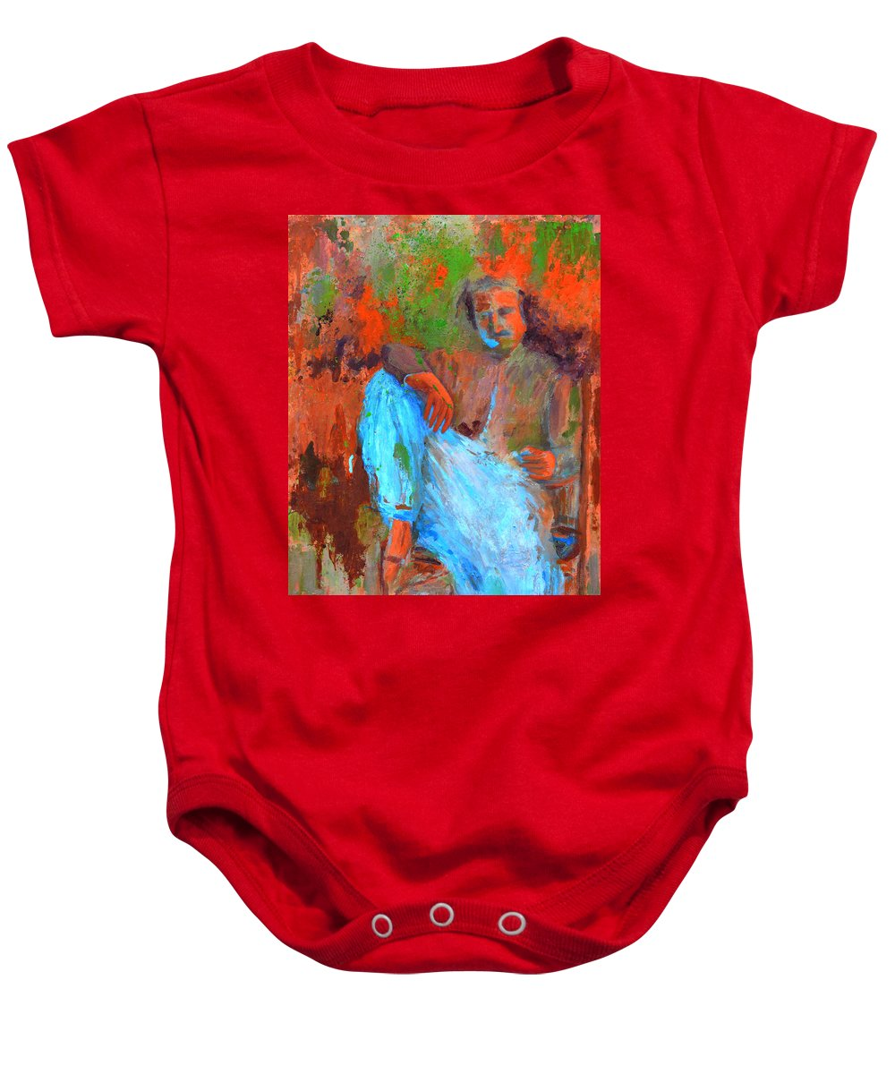 Meher Baba Paintings Baby Onesie featuring the painting Baba In A Chair by Joe DiSabatino