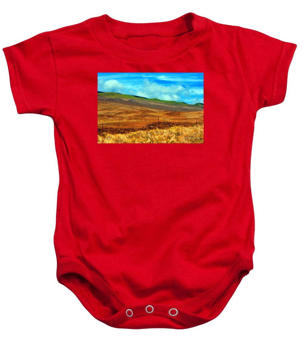 Barbed Wire Baby Onesie featuring the photograph Barbed Wire Fence by Paulette B Wright