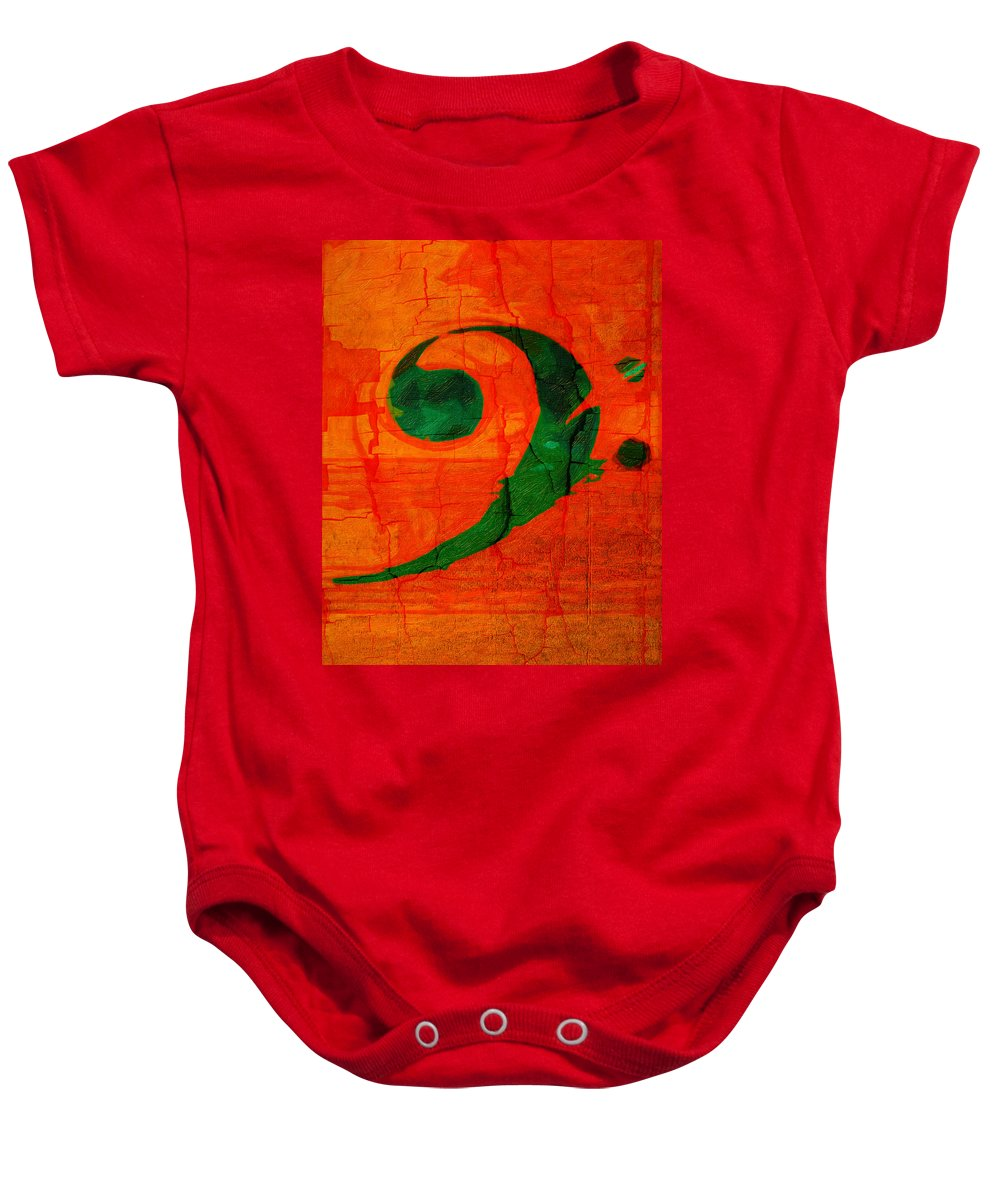 Music Baby Onesie featuring the photograph Bass Distressed by Terry Fiala