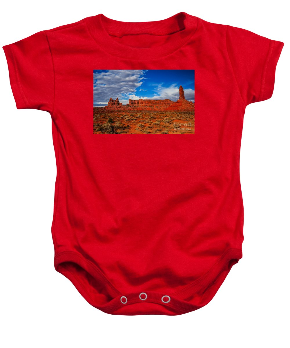 Valley Of The Gods Baby Onesie featuring the photograph Battleship Rock by Robert Bales