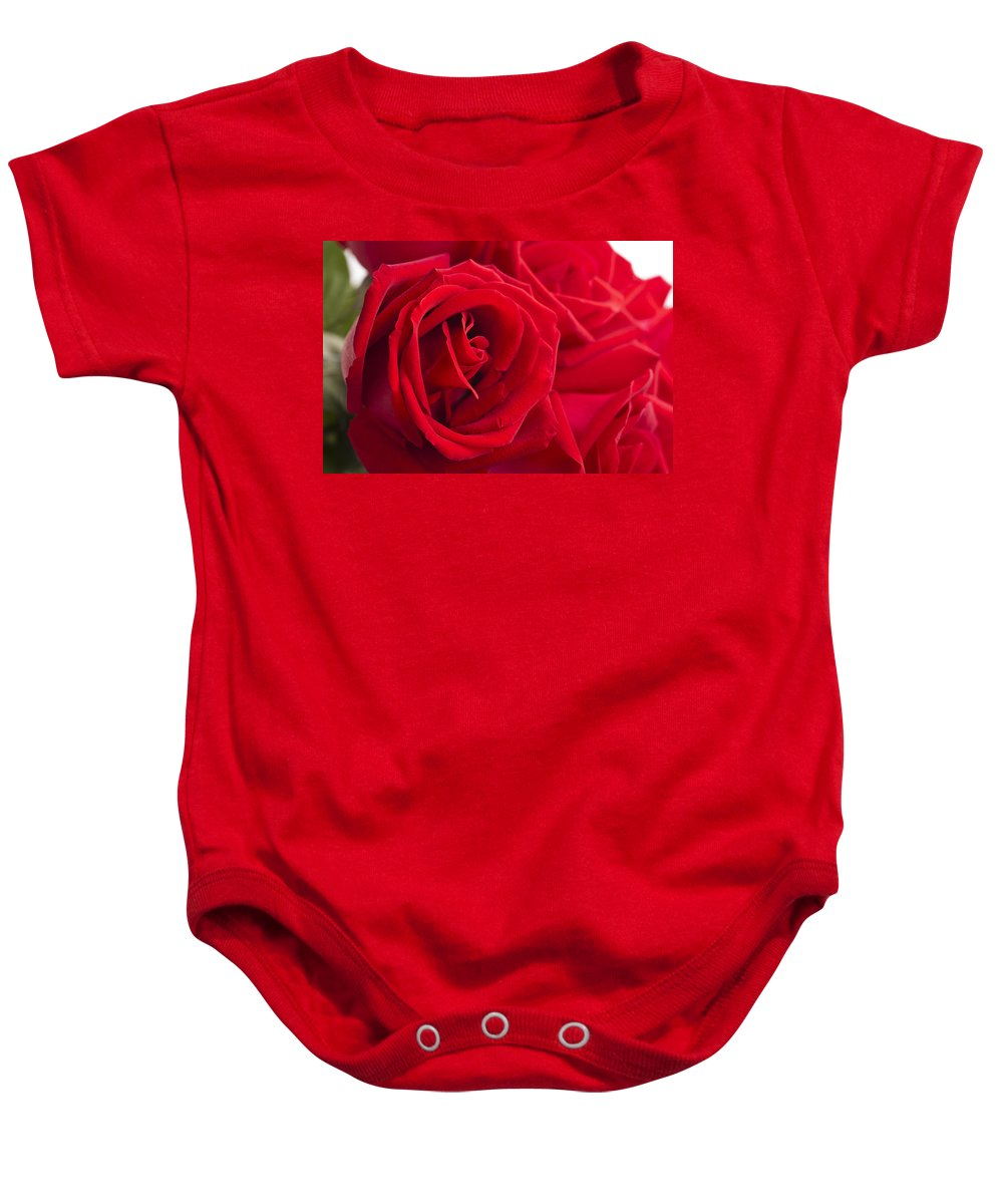 Rose Baby Onesie featuring the photograph Beautiful Red Rose Close Up Shoot by U Schade