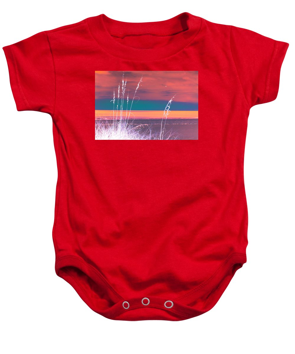Digital Photograph Baby Onesie featuring the digital art Behind The Sea Oats by Laurie Pike