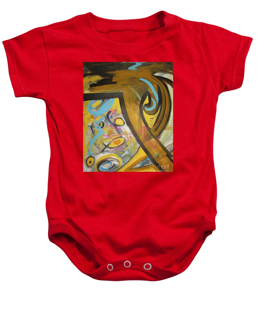 Abstract Baby Onesie featuring the painting Being Easy Original Abstract Colorful Figure Painting For Sale Yellow Umber Blue Pink by Seon-Jeong Kim