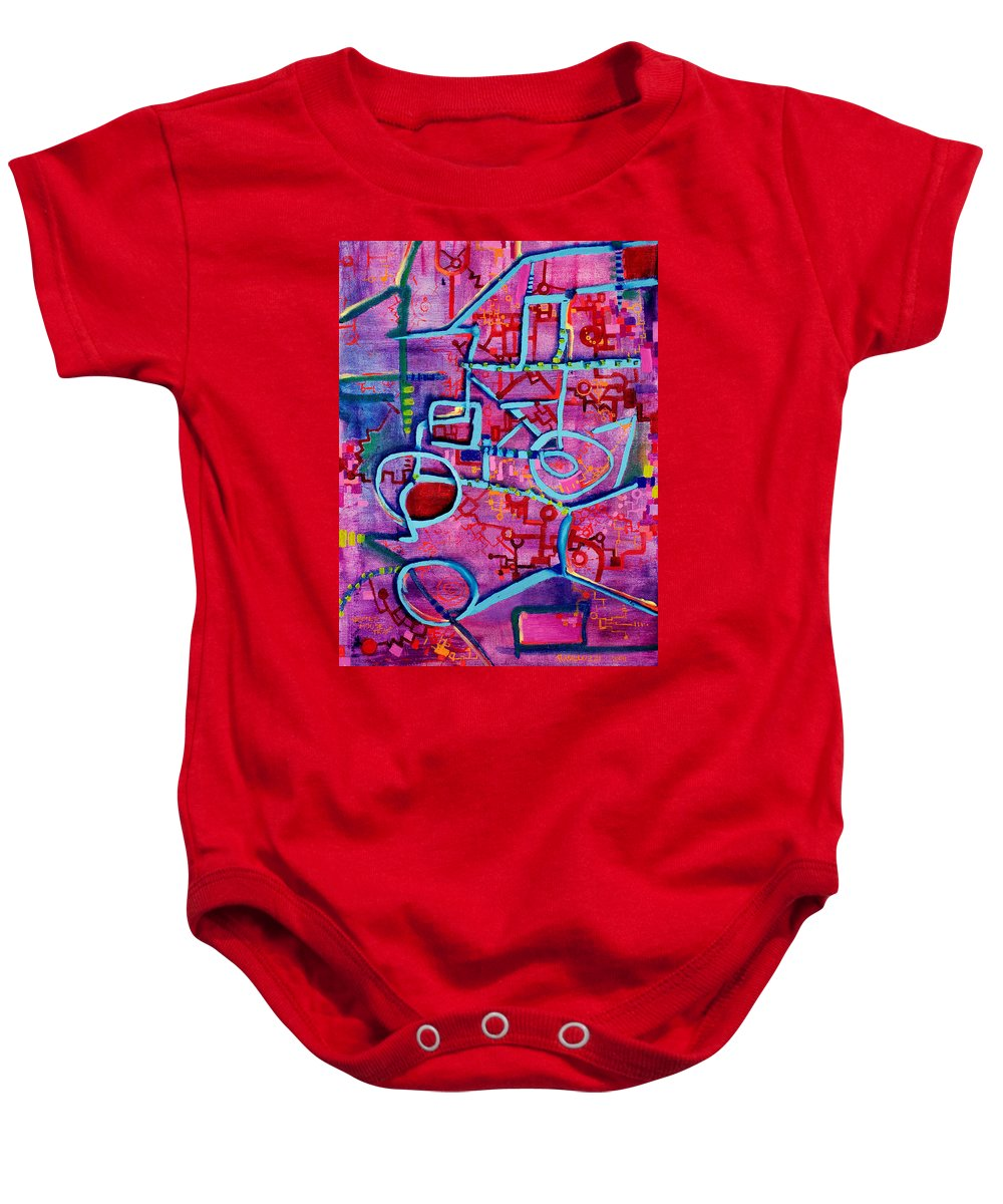 Mousetrap Baby Onesie featuring the painting Better Mousetrap by Regina Valluzzi
