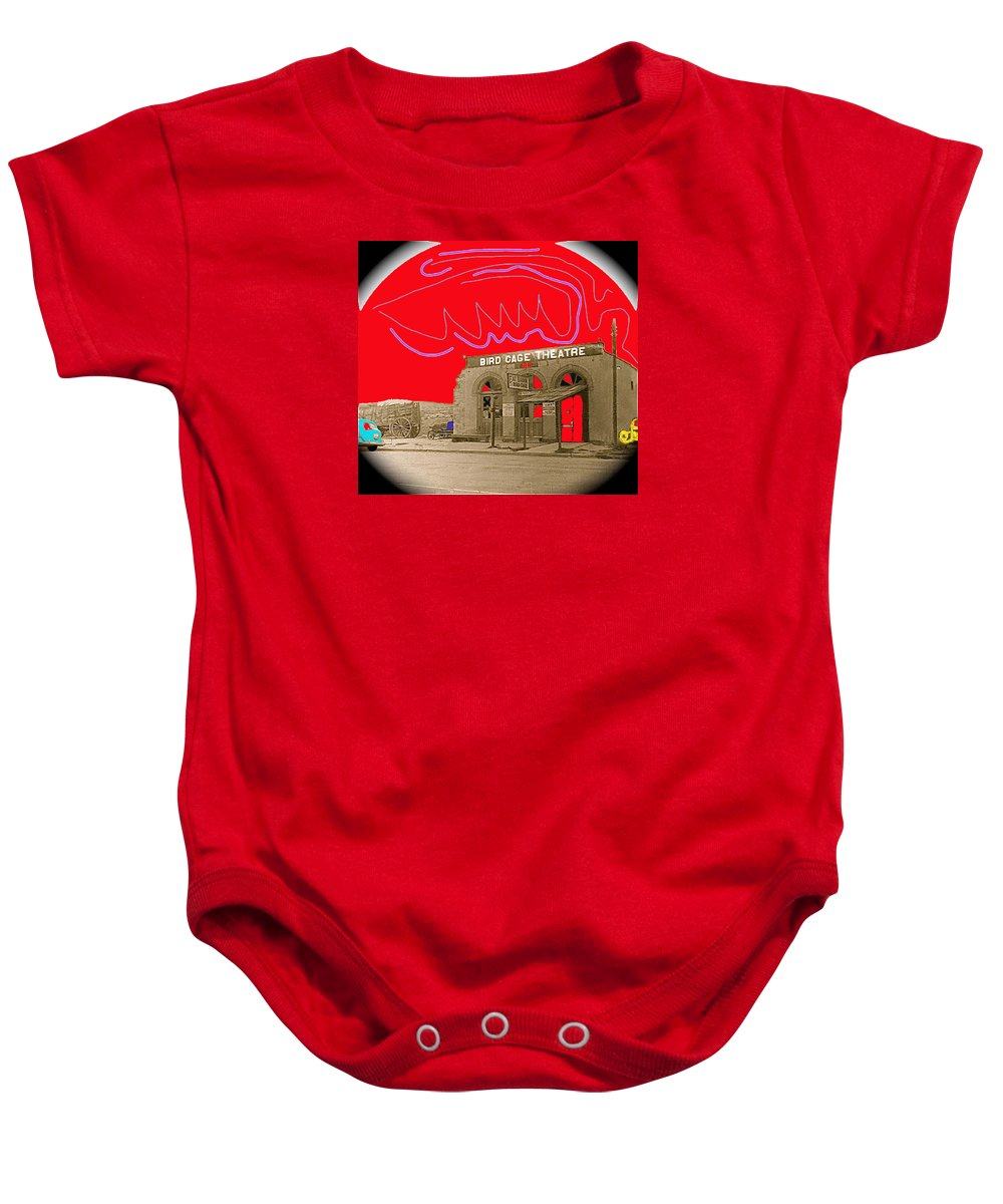Birdcage Theater Tombstone Arizona Ca.1934 Lotta Crabtree Eddie Foy Lillie Langtree Lola Montez Color And Drawing Added Restored Vignetted Baby Onesie featuring the photograph Birdcage Theater Tombstone Arizona Ca.1934 by David Lee Guss