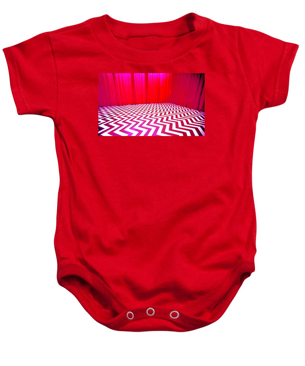 Laura Palmer Baby Onesie featuring the painting Black Lodge Magenta by Luis Ludzska