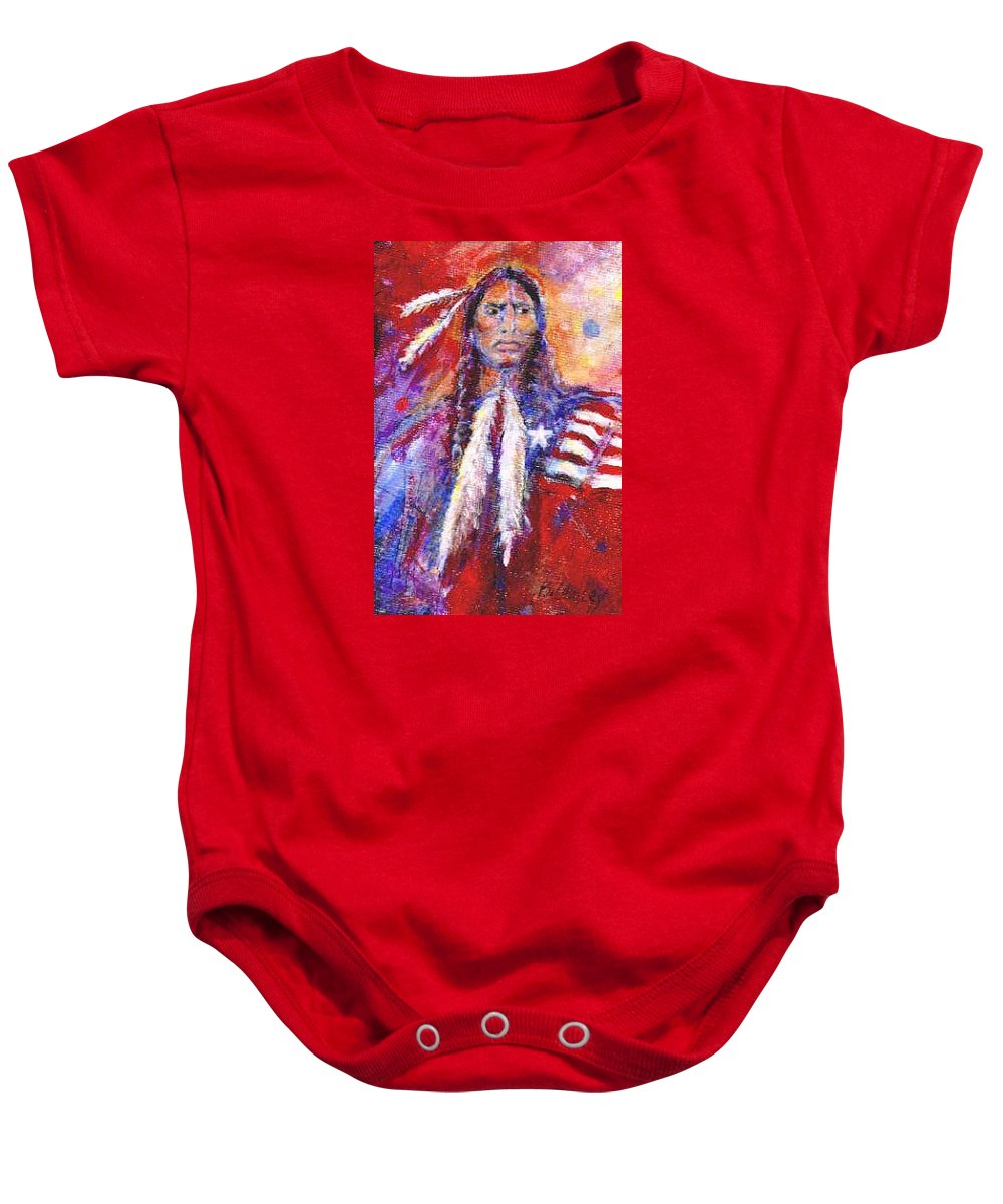 Native American Baby Onesie featuring the painting Blackfeet by Barbara Lemley