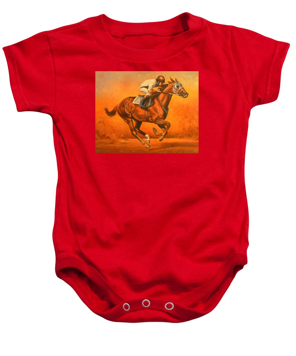 Horses Baby Onesie featuring the painting Blazin Fast by Kerry Nelson