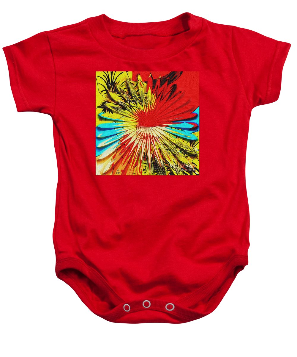 Bold Floral Hat Abstract Baby Onesie featuring the digital art Bold Floral Hat Abstract by Liane Wright