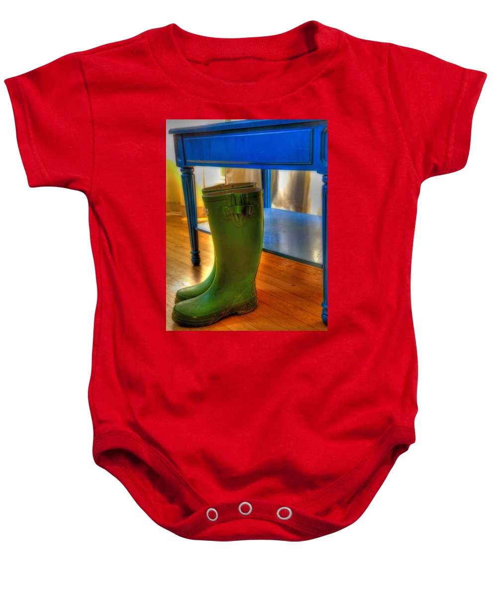 Boot Baby Onesie featuring the photograph Boots by Mark Alder