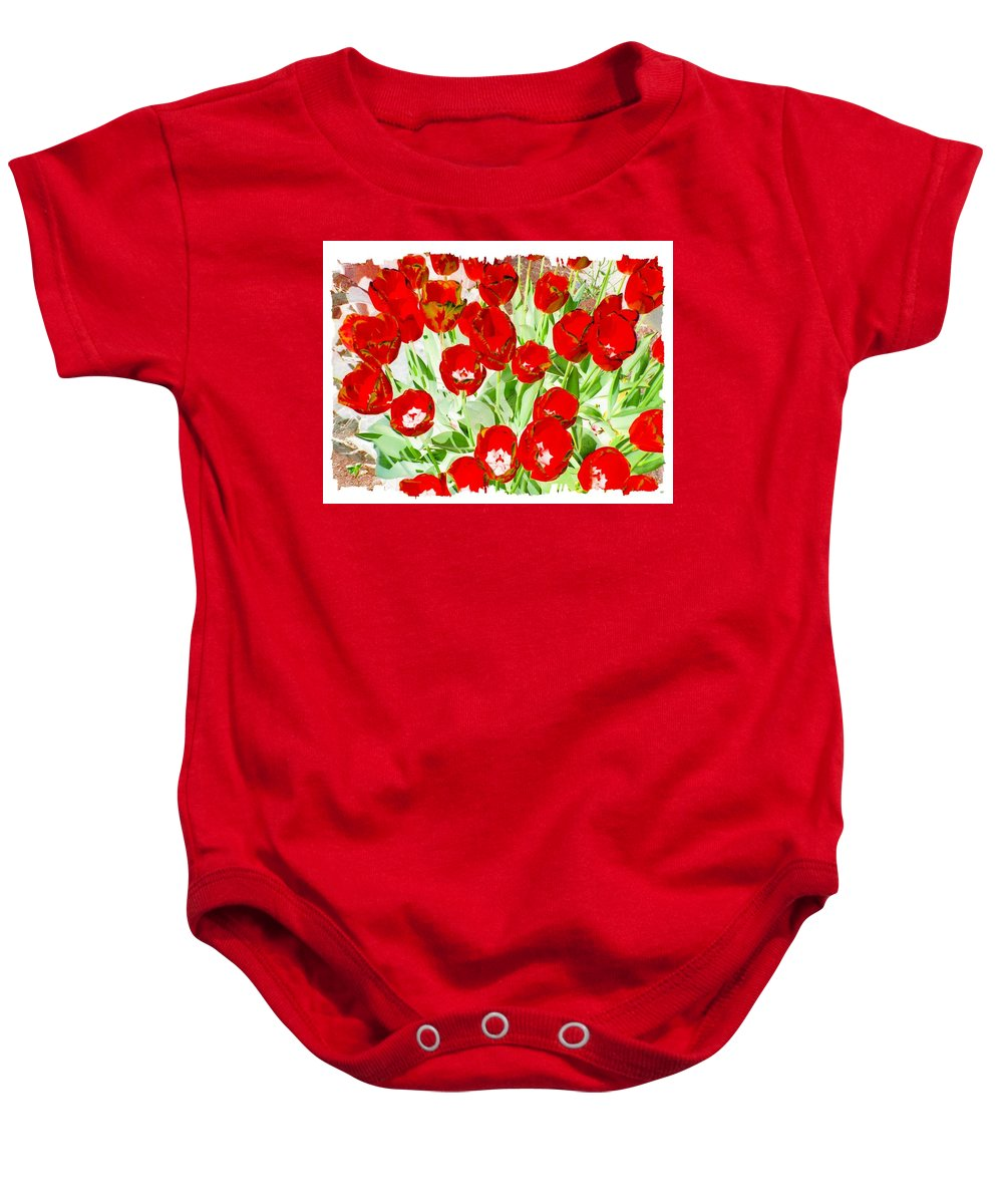 Bordered Red Tulips Baby Onesie featuring the digital art Bordered Red Tulips by Will Borden