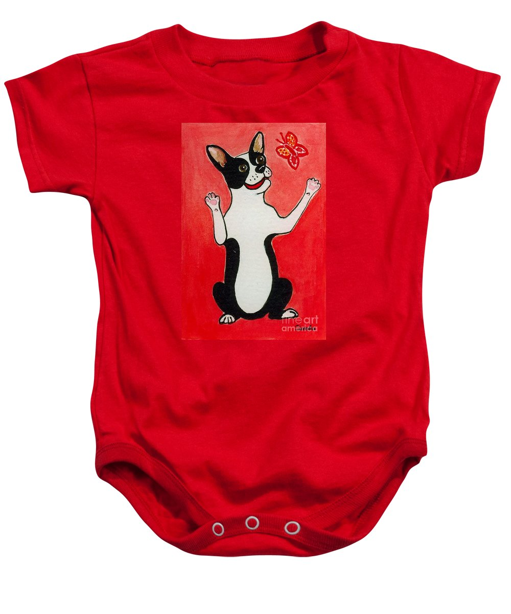 Boston Terrier Baby Onesie featuring the painting Boston Terrier With Butterfly by Lori Ziemba