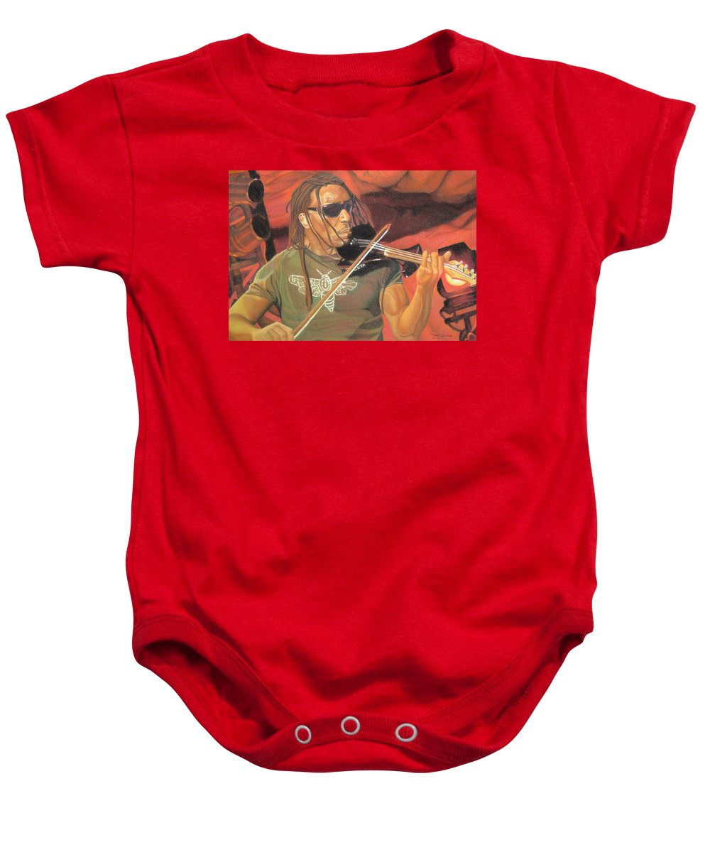 Boyd Tinsley Baby Onesie featuring the drawing Boyd Tinsley At Red Rocks by Joshua Morton