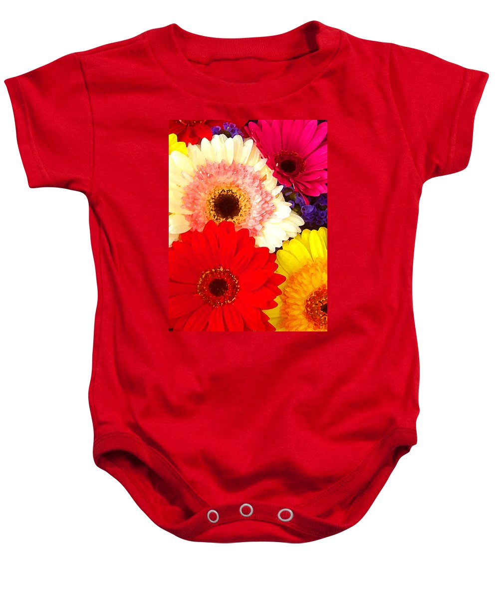 Daisies Baby Onesie featuring the painting Brightly Colored Gerbers by Amy Vangsgard