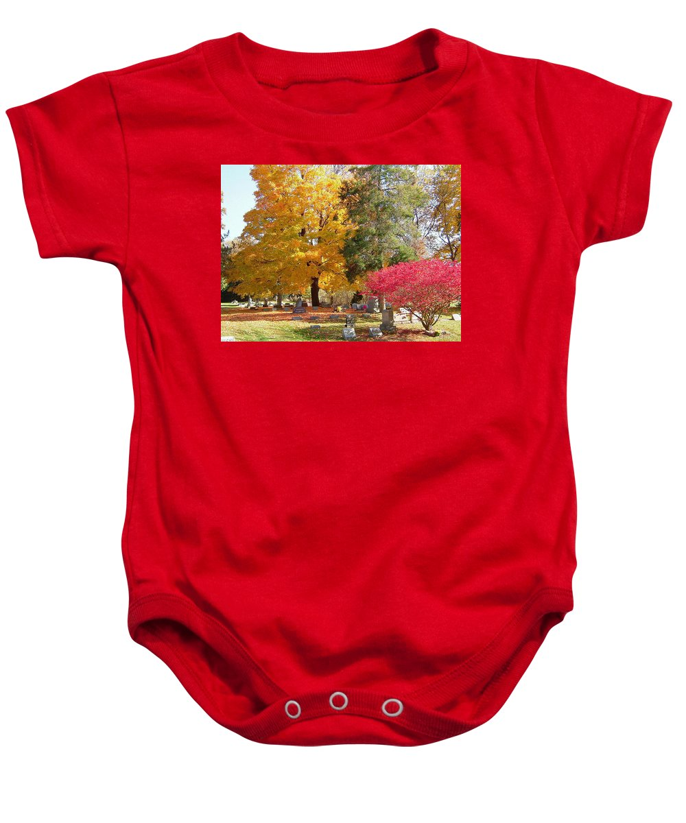 Brilliant Baby Onesie featuring the photograph Brilliant Colors In The Cemetery by Susan Wyman