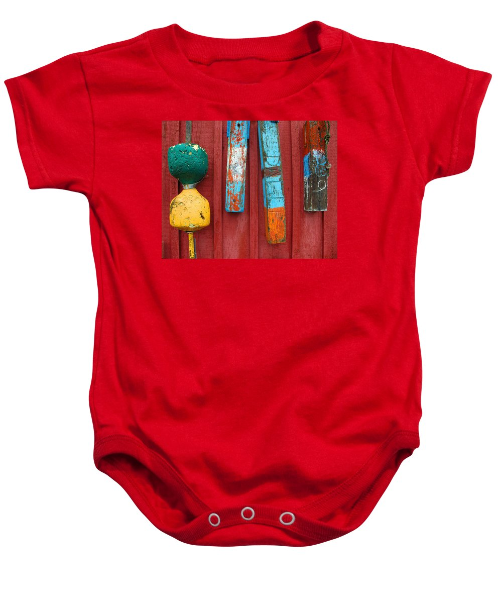 Rockport Baby Onesie featuring the photograph Buoys At Rockport Motif Number One Lobster Shack Maritime by Jon Holiday