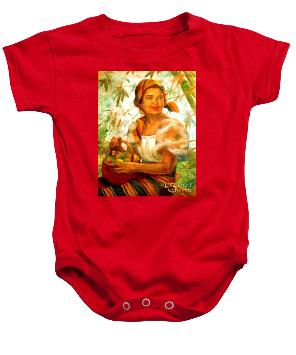 Filipina Baby Onesie featuring the painting by Amorsolo by Maria Leah Comillas