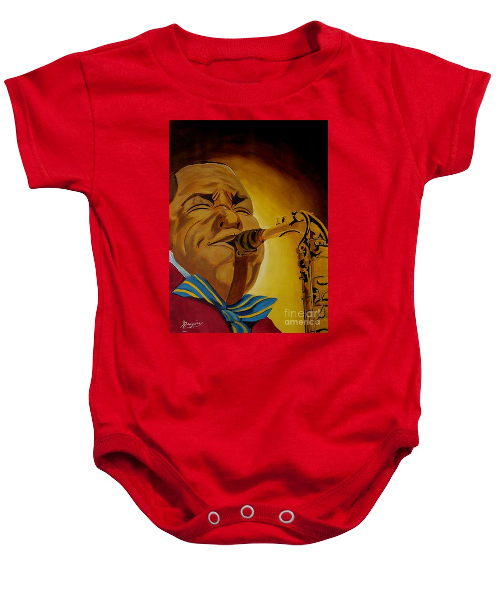 Jazz Baby Onesie featuring the painting Charlie Parker-legends Of Jazz by Anthony Dunphy
