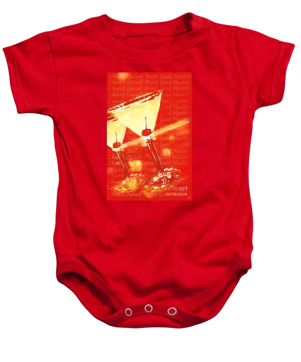 Graphic Poster Baby Onesie featuring the photograph Cheers by Erika Weber