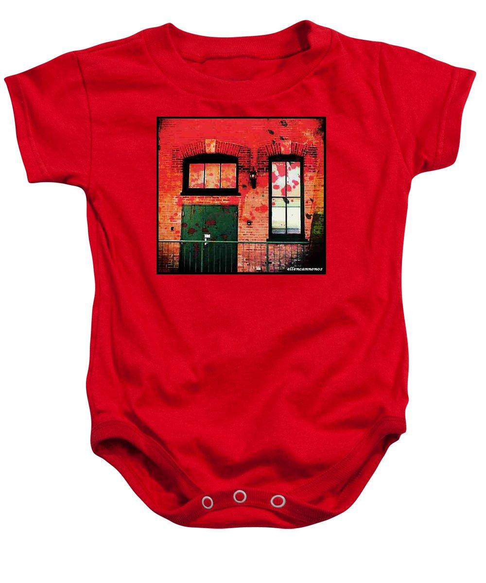Chicago Baby Onesie featuring the digital art Chicago Brick Facade 21st. Century by Ellen Cannon