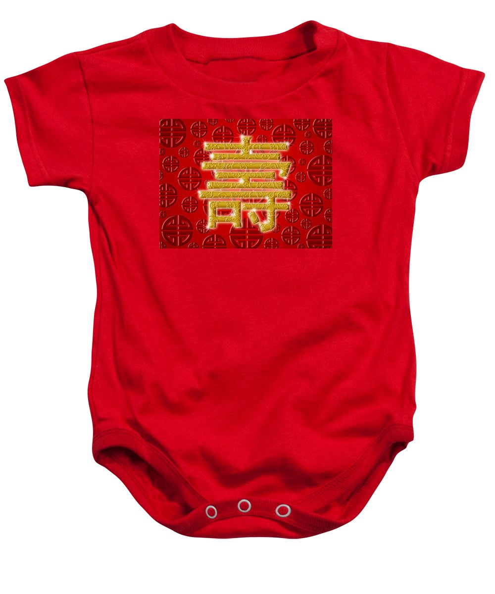 Chinese Baby Onesie featuring the photograph Chinese Birthday Longevity Golden Calligraphy Symbol Red by David Gn
