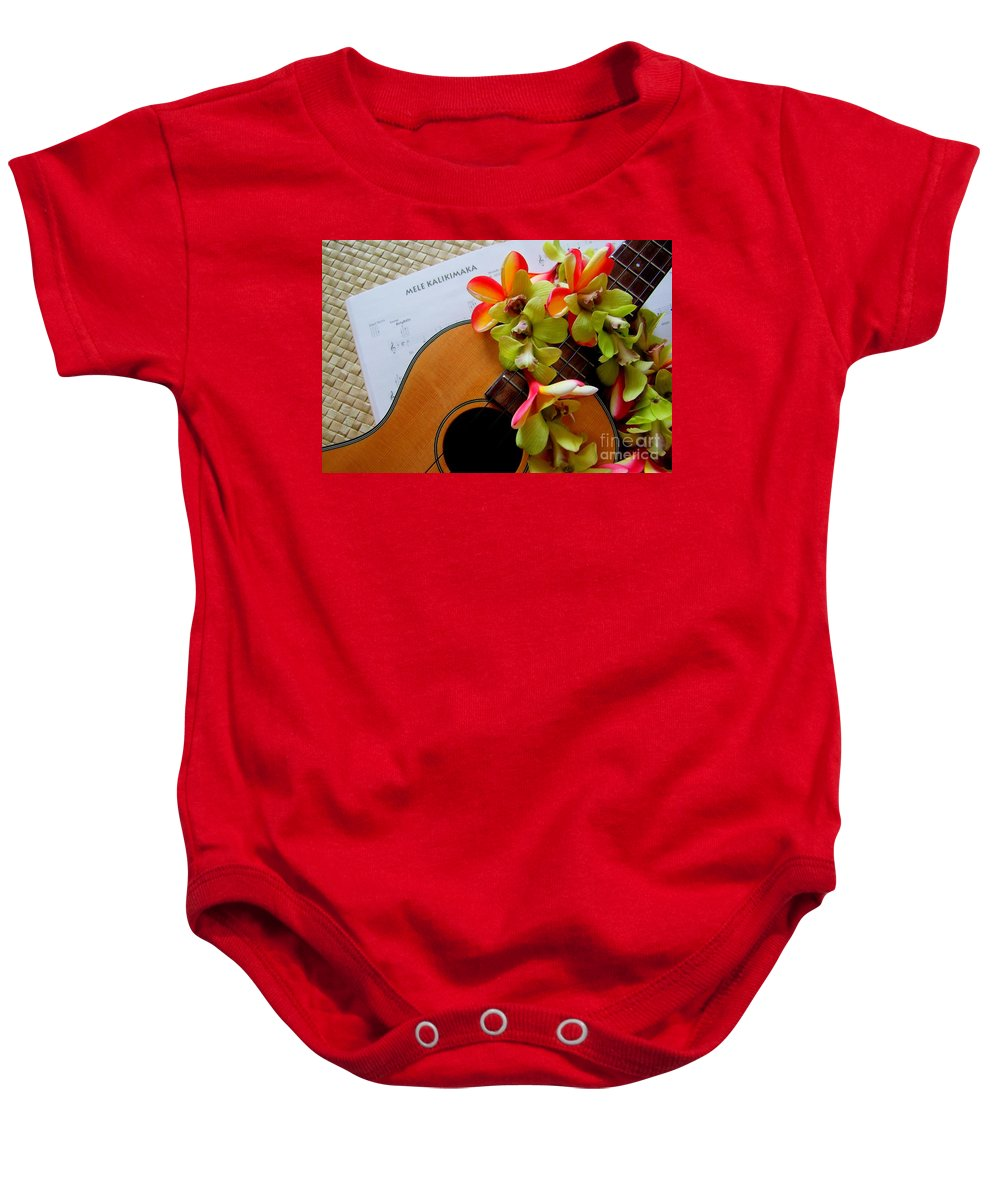 Christmas Baby Onesie featuring the photograph Christmas Mele by Mary Deal