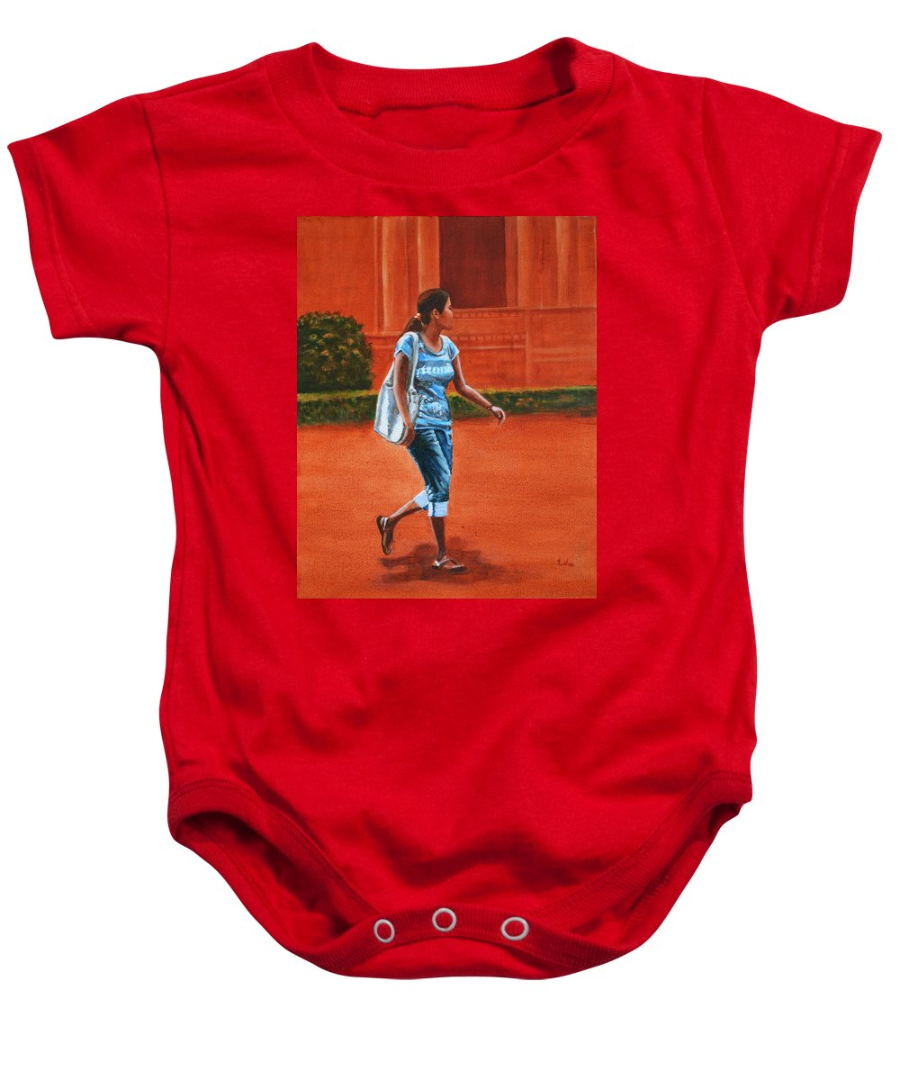 City Baby Onesie featuring the painting City Girl by Usha Shantharam