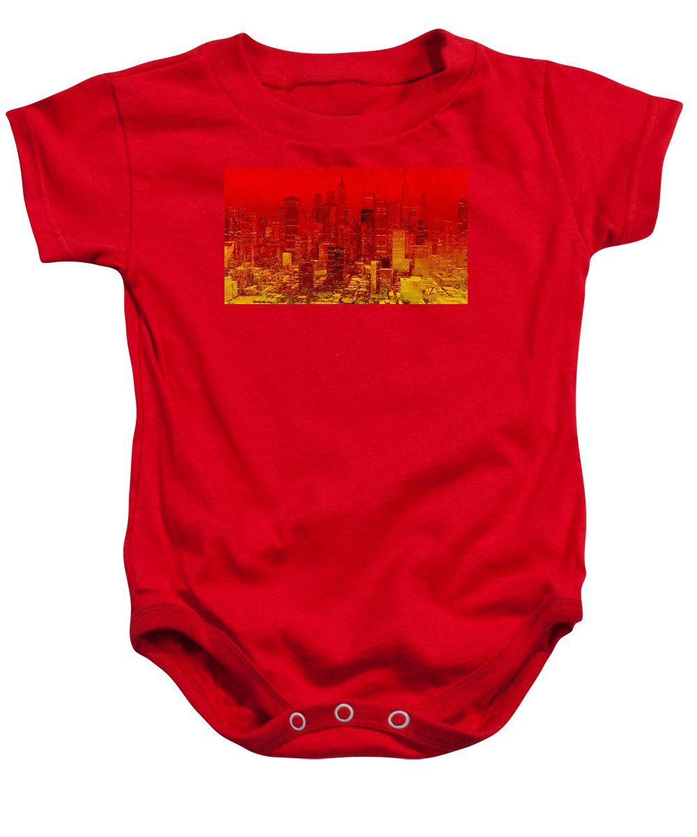Lucky Art Baby Onesie featuring the digital art City On Fire by Lucky Chen