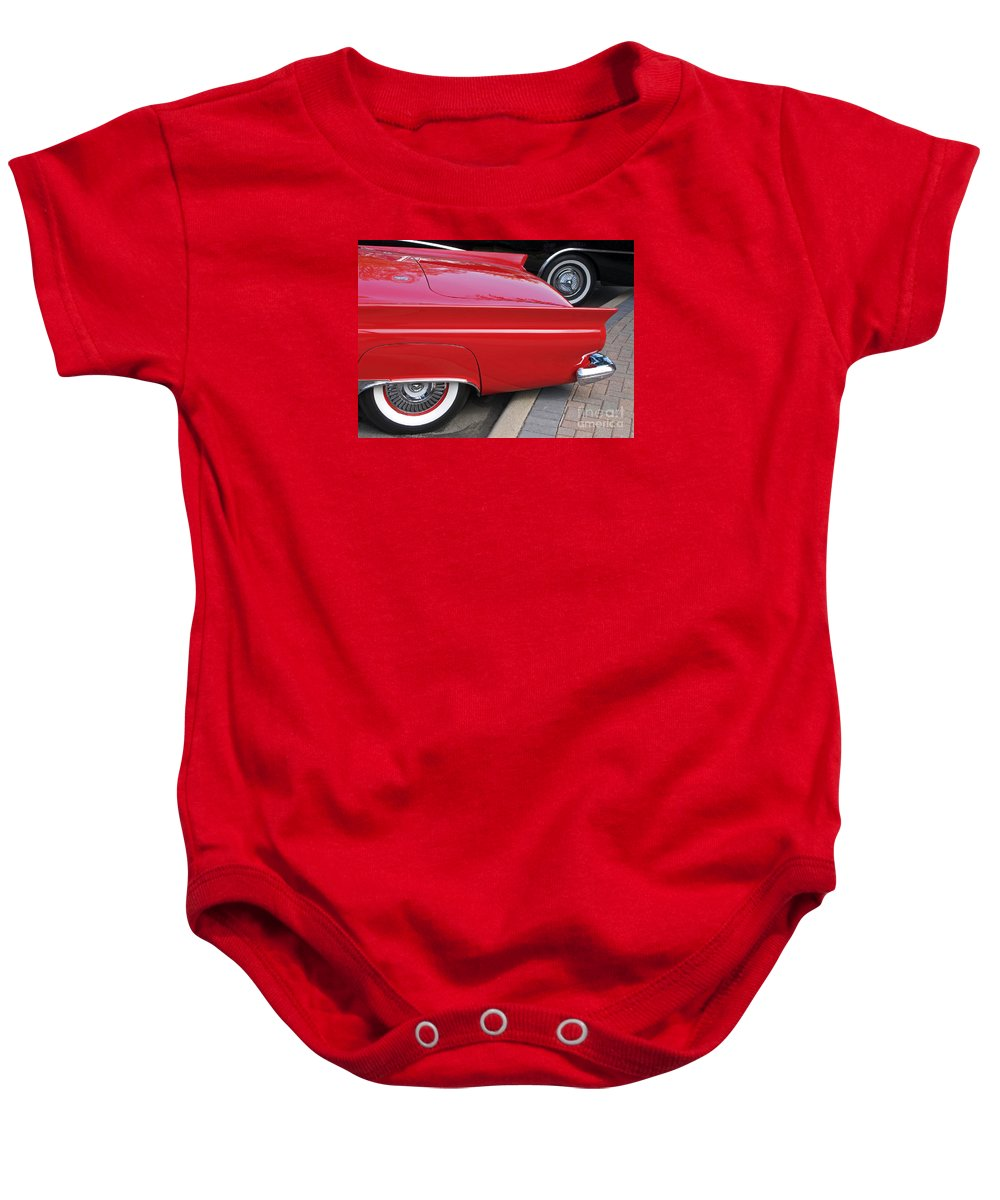 Classic Car Baby Onesie featuring the photograph Classic Red And Black by Ann Horn