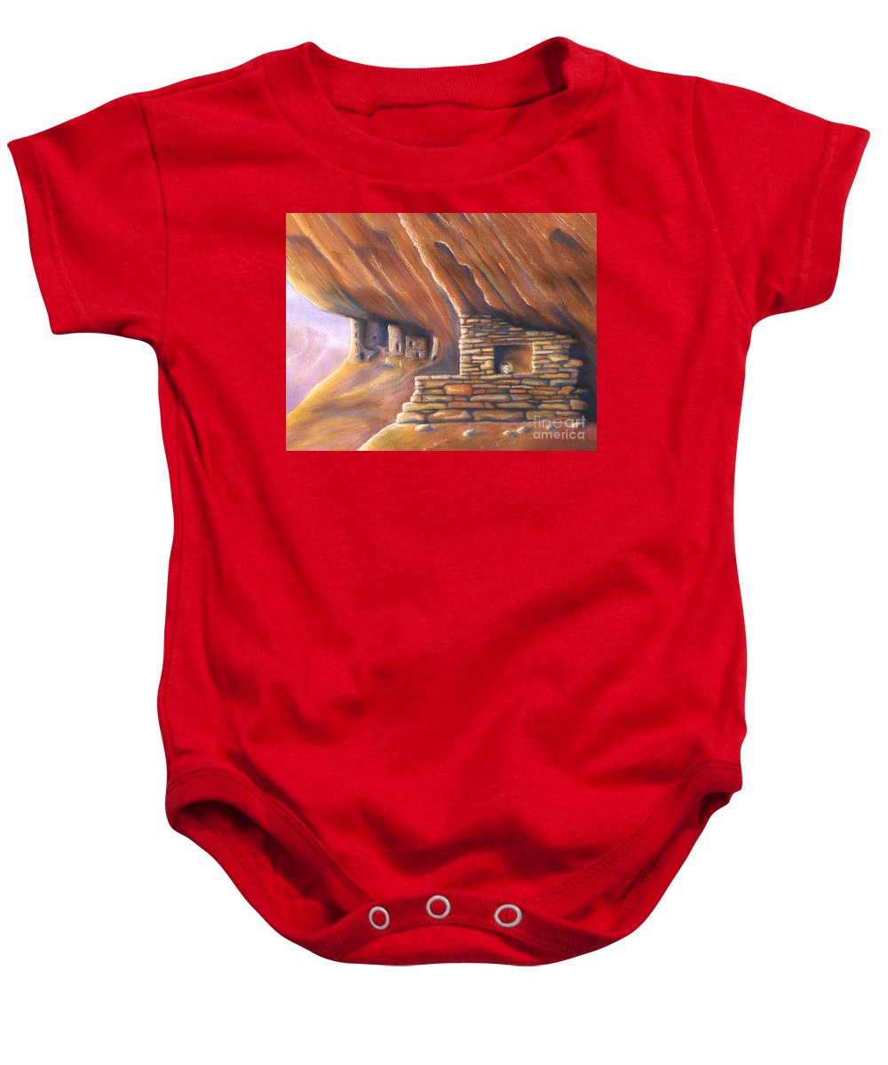 Cliffdwelling Baby Onesie featuring the painting Clay Pot by Jerry McElroy