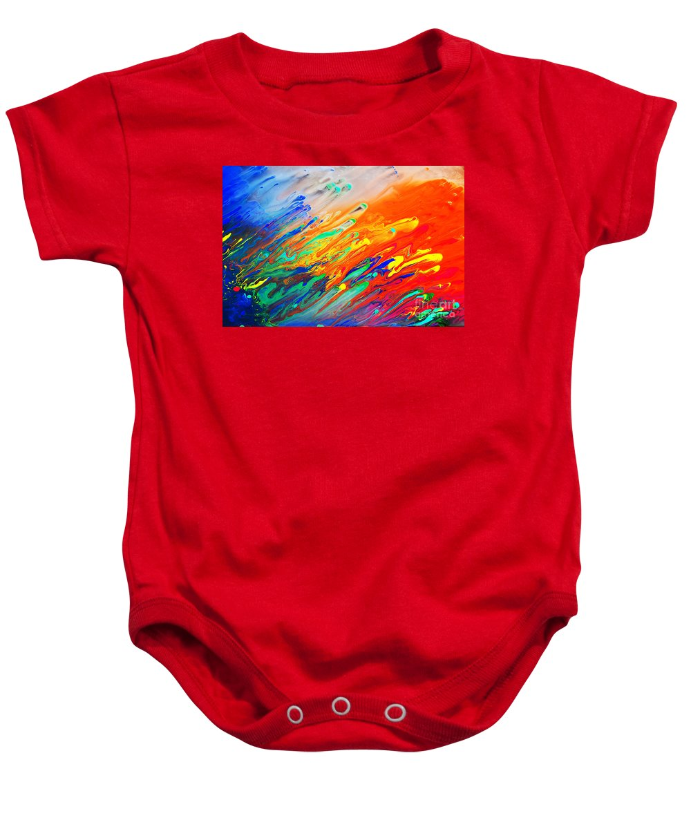 Art Baby Onesie featuring the photograph Colorful Abstract Acrylic Painting by Michal Bednarek