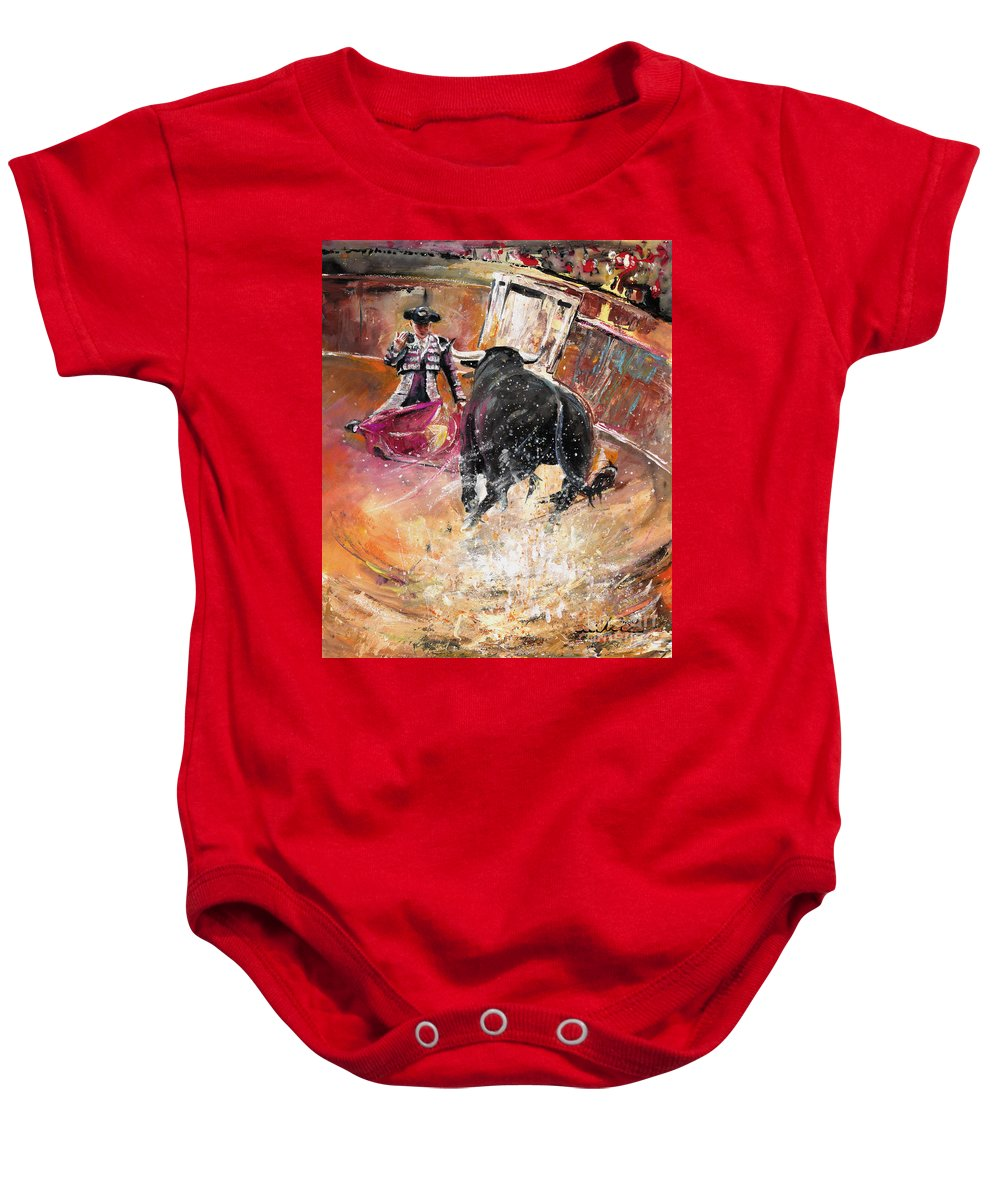 Bullfight Baby Onesie featuring the painting Come If You Dare by Miki De Goodaboom