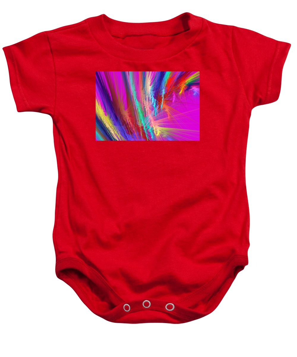 Pink Baby Onesie featuring the photograph Computer Generated Pink Abstract Fractal by Keith Webber Jr