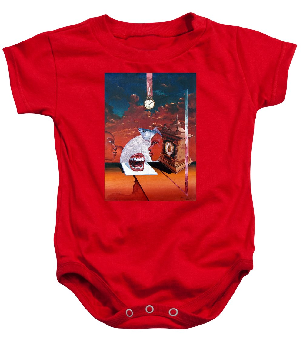 Otto+rapp Surrealism Surreal Fantasy Time Clocks Watch Consumption Baby Onesie featuring the painting Consumption Of Time by Otto Rapp
