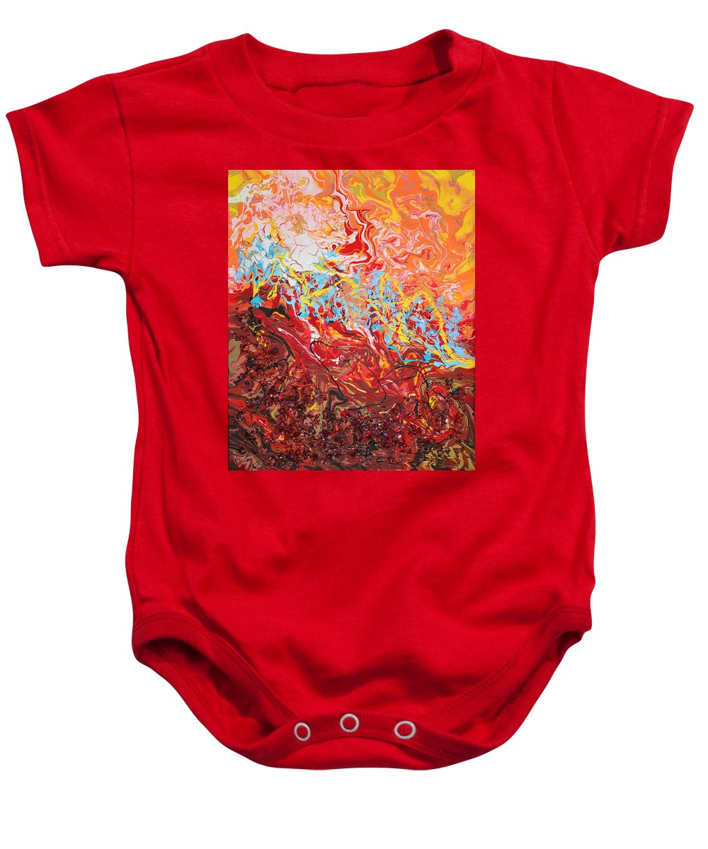 Bold Abstract Baby Onesie featuring the mixed media Cooling Lava by Donna Blackhall