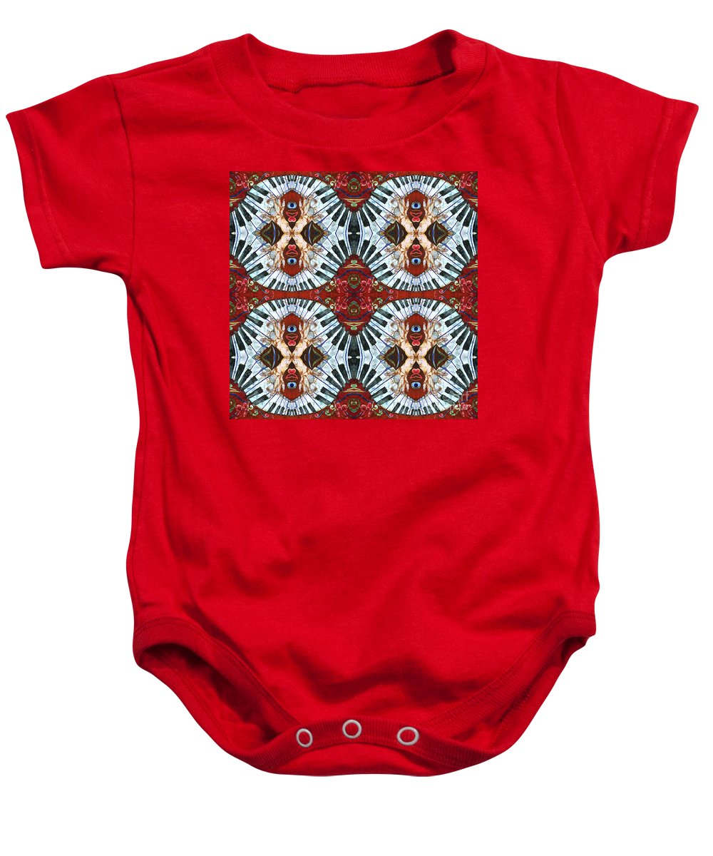 Pianos Baby Onesie featuring the painting Crazy Fingers Piano Tiled by Sue Duda