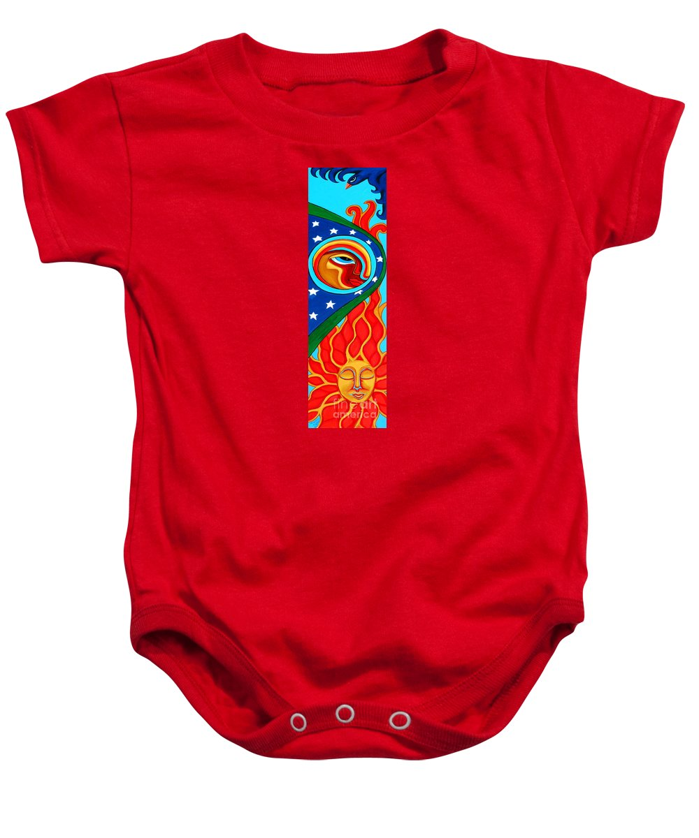 Crow Baby Onesie featuring the painting Crow Moon And Sun by Genevieve Esson