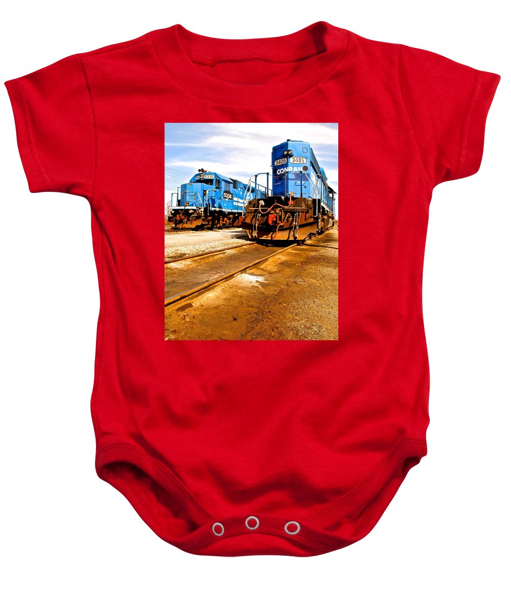 Csx Baby Onesie featuring the photograph Csx Railroad by Frozen in Time Fine Art Photography