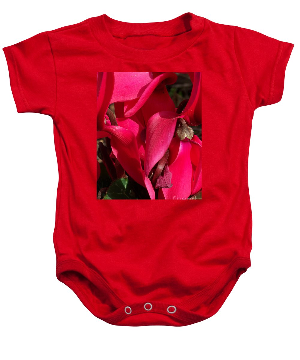 Flowers Baby Onesie featuring the photograph Cyclamen by Kathy McClure