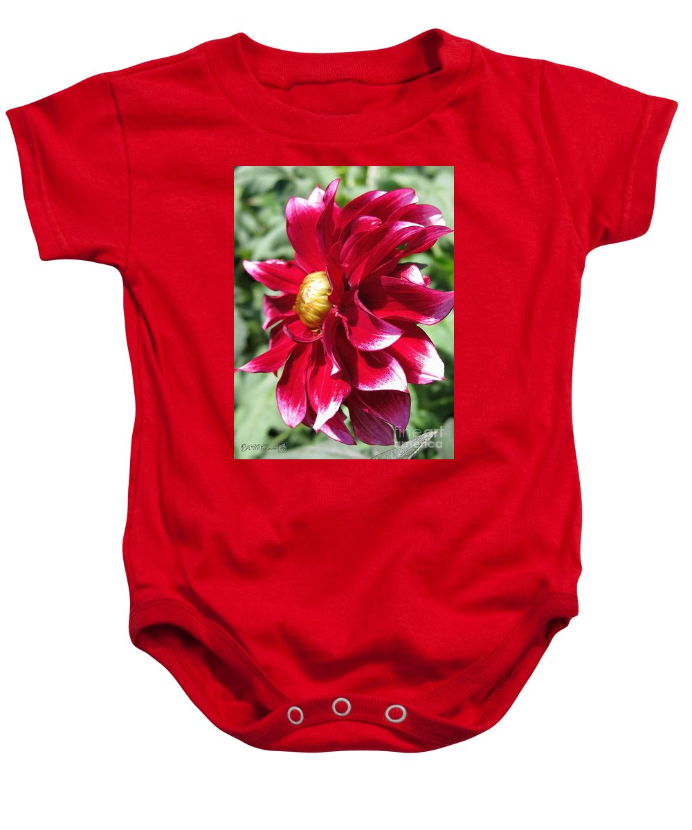Mccombie Baby Onesie featuring the painting Dahlia Named Darkarin by J McCombie