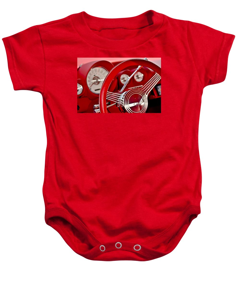 Automobile Baby Onesie featuring the photograph Dashboard Red Classic Car by Carolyn Marshall
