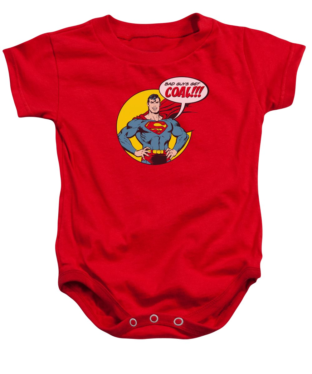 Superman Baby Onesie featuring the digital art Dc - Coal by Brand A