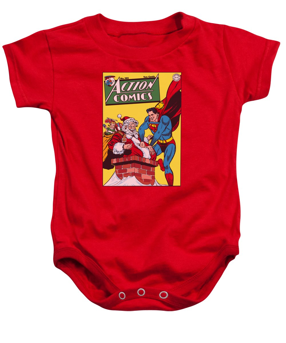 Action Comics Baby Onesie featuring the digital art Dc - Cover No. 105 by Brand A