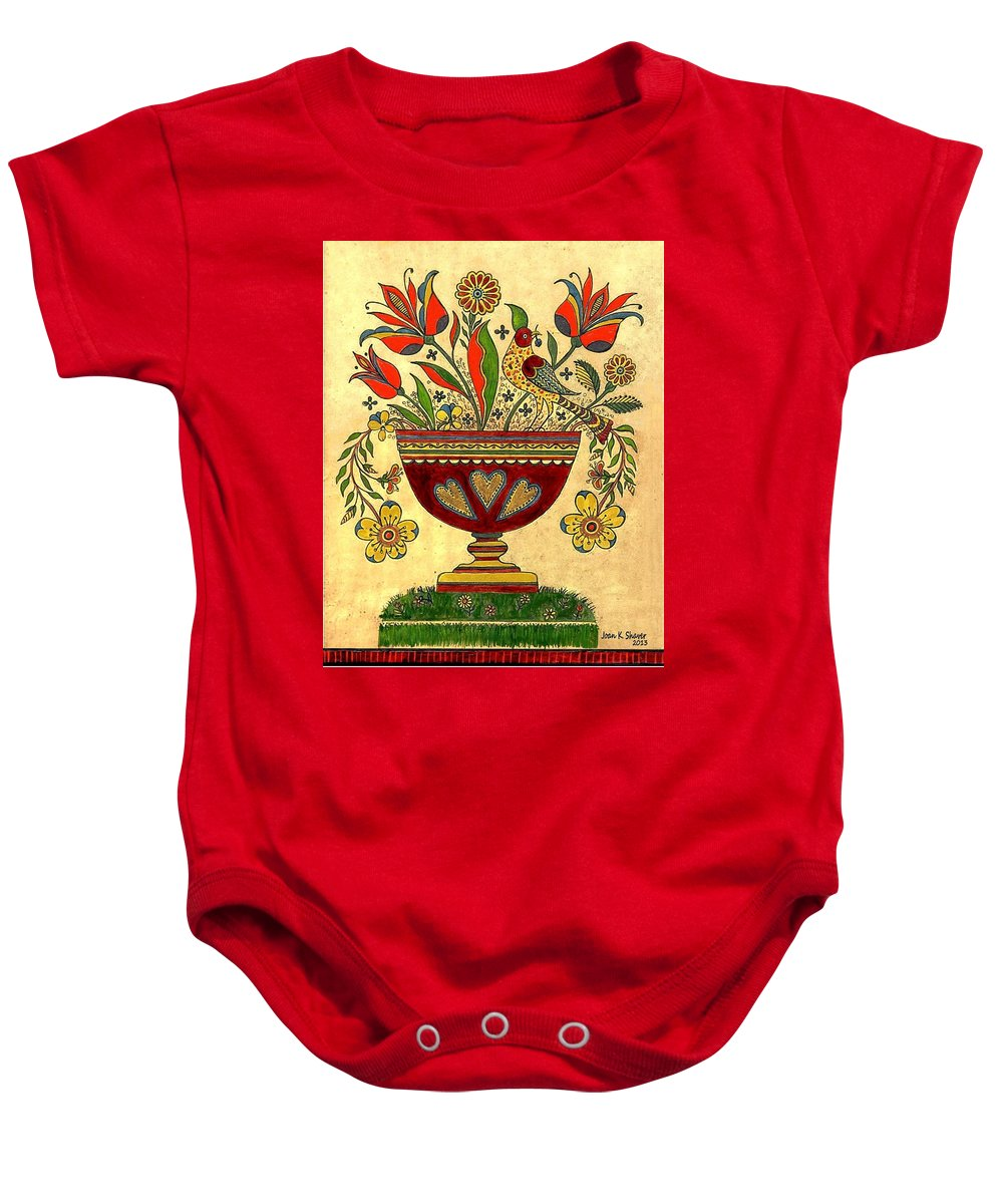 Folk Art Baby Onesie featuring the painting Distelfink With Flowers by Joan Shaver