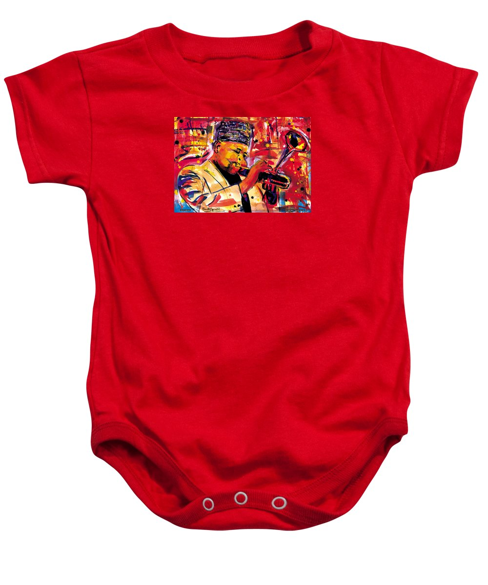 Dizzy Gillespie Baby Onesie featuring the painting Dizzy Gillespie by Everett Spruill