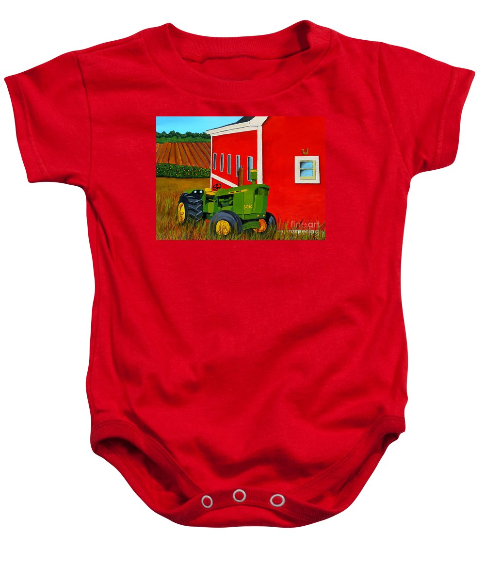 Farm Baby Onesie featuring the painting Down On The Farm by Anthony Dunphy